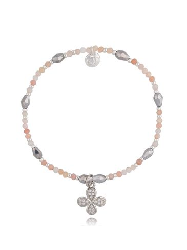 Bransoletka z różowym opalem i kwiatkiem BSC0837