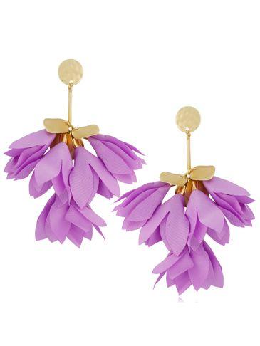 Kolczyki satynowe kwiaty jasny fiolet KBL0528