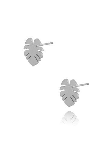 Kolczyki srebrne liść monstery ze stali szlachetnej KSA0255