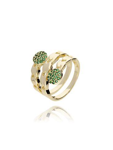 Pierścionek złoty z zielonymi kryształkami PRG0054