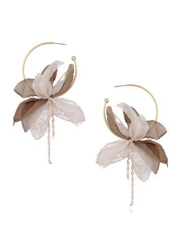 Kolczyki jedwabne kwiaty beżowo brązowe KBL0373