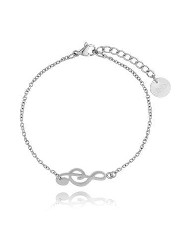 Bransoletka srebrna ze stali szlachetnej z kluczem wiolinowym BSA0117
