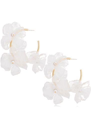 Kolczyki jedwabne kwiaty białe KBL0697