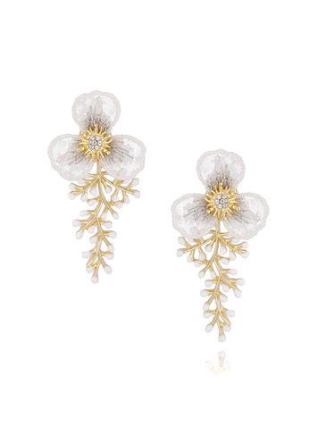 Kolczyki białe kwiaty z kryształkami KLI0011