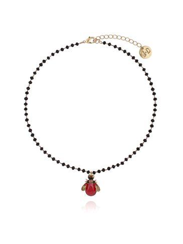 Naszyjnik czerwony żuk z kryształkami NMI0032