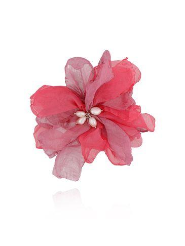 Broszka / spinka kwiat z perełkami różowa BRBL0017