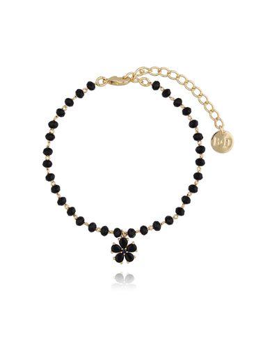 Bransoletka złota z czarnymi kryształkami i kwiatuszkiem BMU0017