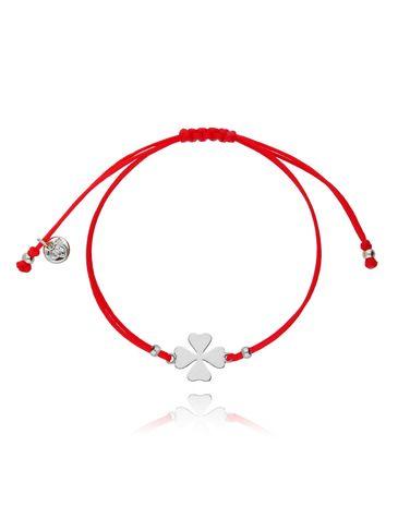 Bransoletka na sznurku czerwona - srebrna koniczyna BGL0427