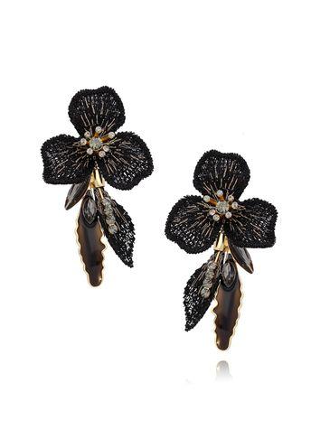 Kolczyki czarne kwiaty z kryształkami i emalią KLI0018