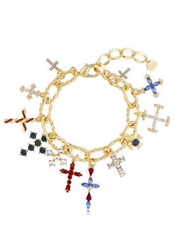 Bransoletka złota bogato zdobiona zawieszkami krzyżykami Crystal BRG0221