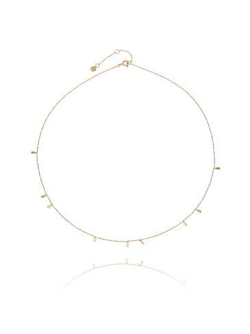 Naszyjnik srebrny pozłacany z białą emalią NFA0004