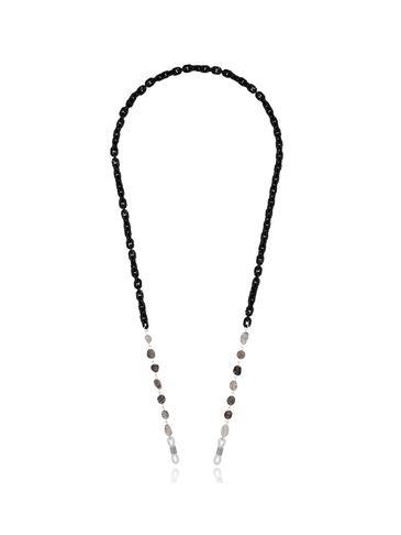 Łańcuszek do okularów z kwarcami czarny NPA0215