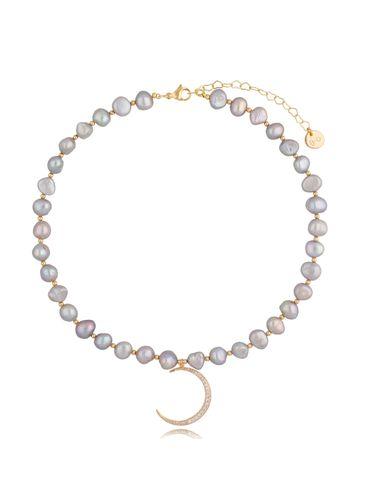 Naszyjnik z szarych pereł z zawieszką księżyc Big Moon Pearls NPE0092