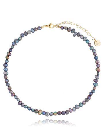Naszyjnik z szarych pereł Foggy Pearls & Gold NPE0066