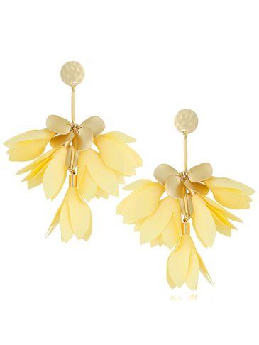 Kolczyki satynowe kwiaty pastelowo żółte KBL0502