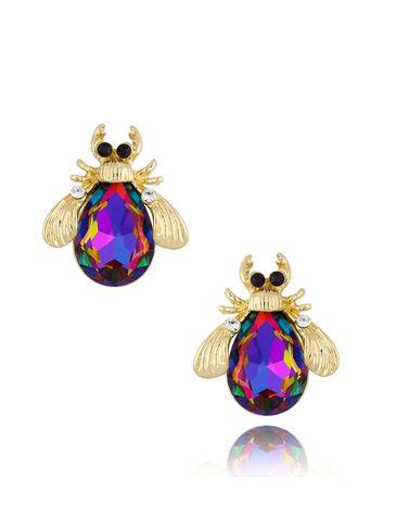 Kolczyki żuki z fioletowo zielonymi kryształami KMI0141