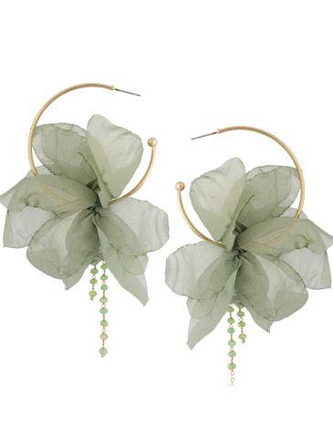 Kolczyki jedwabne kwiaty zielone połyskujące KBL0830