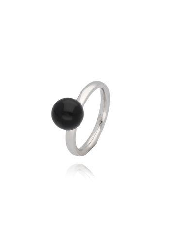 Pierścionek srebrny ze stali szlachetnej z czarną kulką PSA0065 Rozmiar 18