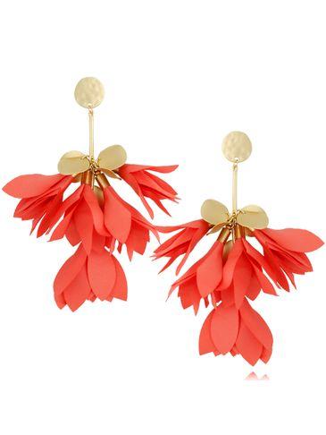Kolczyki satynowe kwiaty koralowe KBL0514
