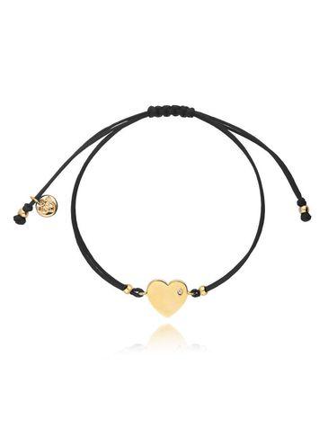 Bransoletka na sznurku czarna - złote serce BGL0447
