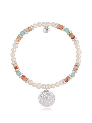 Bransoletka z perłami błękitna ceglana  BSC0810