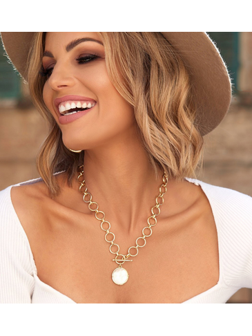 Naszyjnik złoty z perłową zawieszką Bella NTO0007