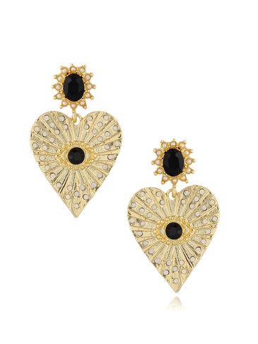 Kolczyki serca z czarnymi kryształkami KRG0628