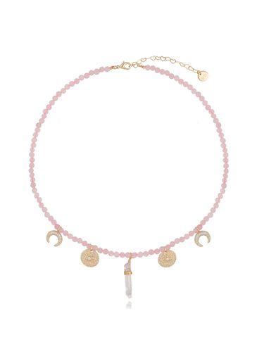 Naszyjnik z różowym kwarcem NPA0226