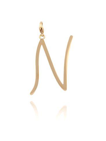 Zawieszka ze stali szlachetnej złota literka N Alphabet NAT0059