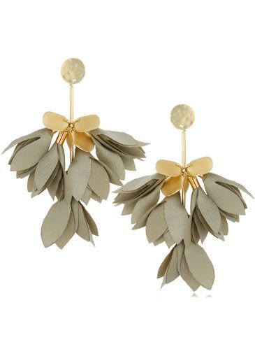 Kolczyki satynowe kwiaty szaro zielone KBL0508