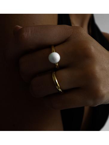 Pierścionek złoty ze stali szlachetnej z białą kulką PSA0013 Rozmiar 12