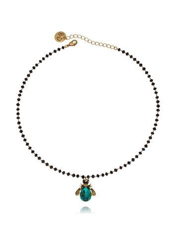 Naszyjnik zielony żuk z kryształkami NMI0052 40cm