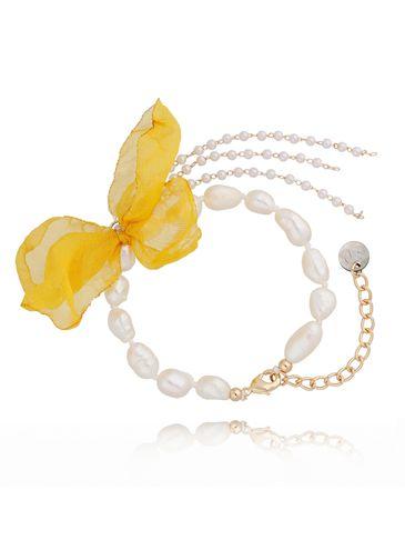 Bransoletka z perłami i z żółtym kwiatem  BBL0054
