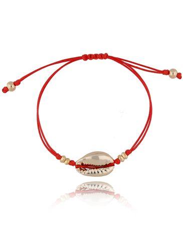 Bransoletka z muszelką na czerwonym sznurku BOV0061