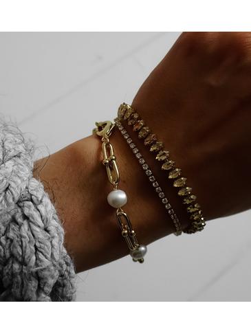 Bransoletka złota z perełkami BPE0031