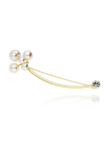Broszka złota z perłami i cyrkonią BRPE0006