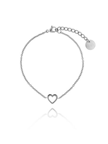 Bransoletka srebrna z sercem ze stali szlachetnej BSA0095