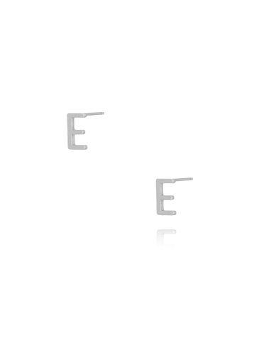 Kolczyki wkrętki z literką E srebrne KAT0004