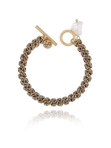 Bransoletka z perłą  i łańcuszkiem złoto antyczne BPE0033