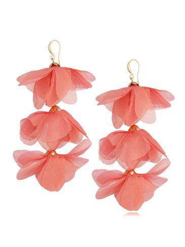 Kolczyki jedwabne kwiaty potrójne brzoskwiniowe KBL0788