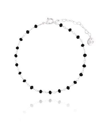 Bransoletka na kostkę z  czarnych kryształków  BNOA0010