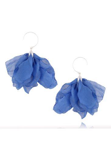 Kolczyki jedwabne kwiaty niebieskie KBL0402