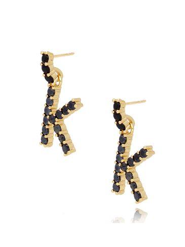Kolczyki złote z kryształkami literka K KRG0598