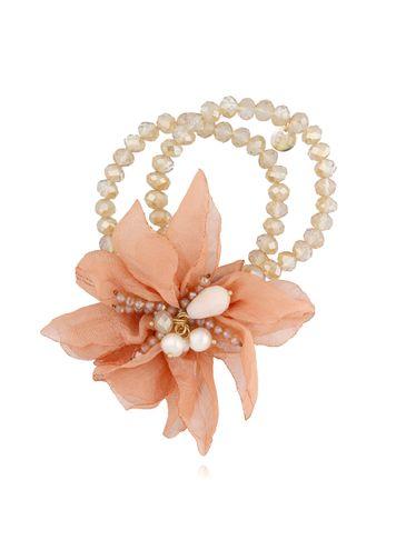 Bransoletka z kryształkami i brzoskwiniowym kwiatem  BBL0132