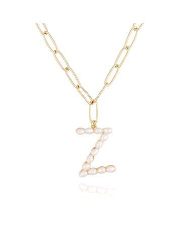 Naszyjnik złoty łańcuch  z literka z perłami Z NRG0153