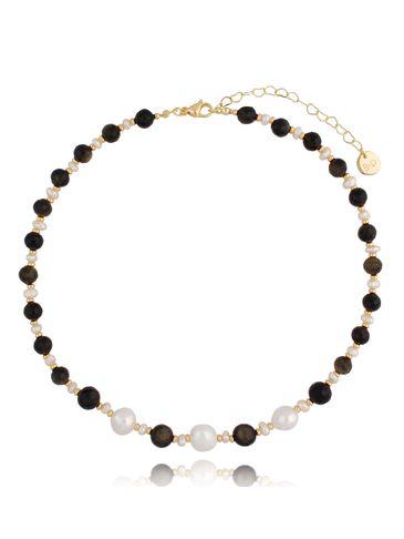 Naszyjnik perły i agat NPA0403