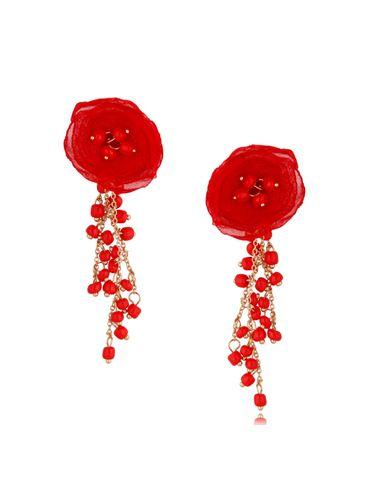 Kolczyki satynowe kwiaty z koralikami Blossom Red Mallow KBL0883