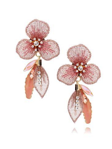 Kolczyki morelowe kwiaty z kryształkami i emalią KLI0002