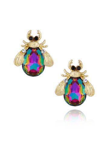 Kolczyki złote żuki z fioletowo zielonymi kryształkami KMI0124