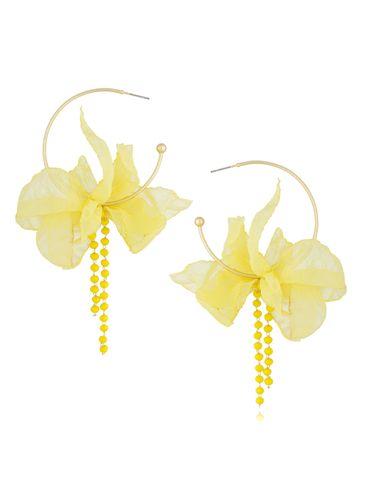 Kolczyki jedwabne kwiaty żółte KBL0495